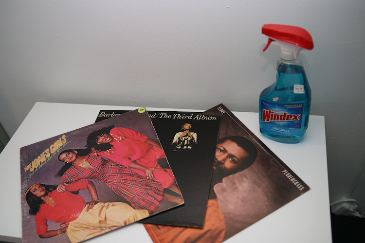 Testing out the idea of cleaning a vinyl record with Windex using a Jones Girls record