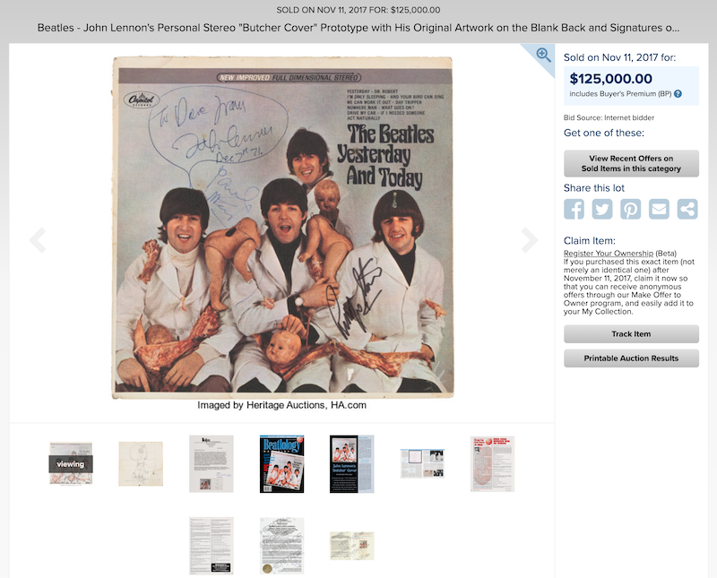 First State Butcher Cover that came from John Lennon's personal collection.  Also included signatures of The Beatles.